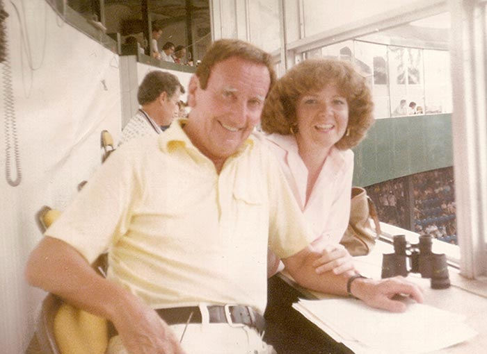 Vince & Anne Doyle in the Press Box at Tigers Stadium
